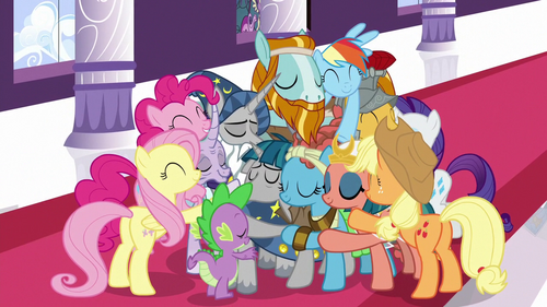 Main ponies and Pillars in a group hug S7E26