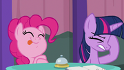 Pinkie licks her lips; Twilight annoyed S9E16