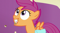 "Scootaloo with mouth full ""okay!"" S7E7"