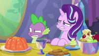 Spike and Starlight watch Princess Ember eat S7E15