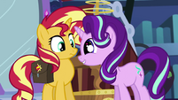 Starlight Glimmer giving Sunset wide, starry eyes EGS3