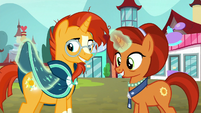 Sunburst and Stellar look at glowing cutie mark S8E8