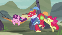 Apple Bloom pushes Big Mac closer to Sugar Belle S7E8