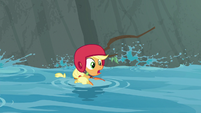 Applejack floating down the stream S8E9