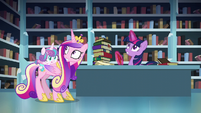Cadance and Twilight looks up S6E2