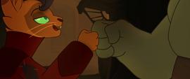 Capper doing handshake with mole creature MLPTM