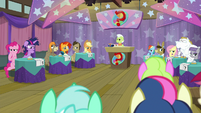 Everypony thinking about the answer S9E16
