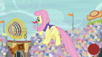 Fluttershy tail-flings the ball again S9E6
