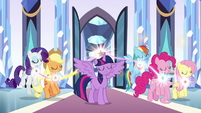 Mane Six landing back on the floor S9E1
