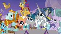 Pillars of Equestria watch the coronation S9E26