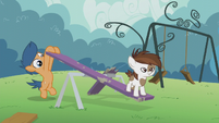 Pipsqueak on a seesaw; First Base pushes it S5E18