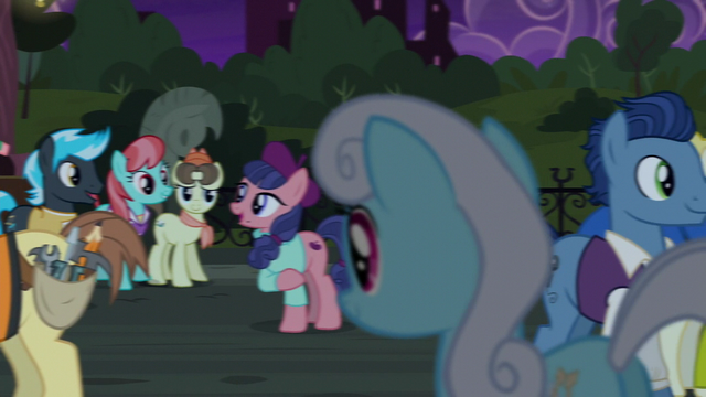 File:Ponies mingle after the play S5E16.png