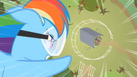 Rainbow Dash about to hit barn S2E03