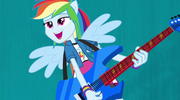 Rainbow Dash on blue Better Than Ever backdrop EG2