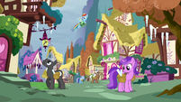 Rainbow sees ponies decorating their houses with icicles S5E5