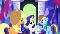 Rarity and Rainbow Dash hoof-bump S5E3