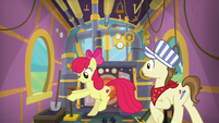 Steamer catches Apple Bloom in engine car S9E22