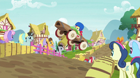 Apple Bloom's speed cart sails through the air S6E14