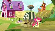 Apple Bloom pulling pie cart S4E17