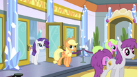 Applejack and Rarity enter the stadium lobby S4E24