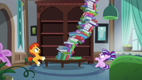 Book tower about to fall onto Starlight S5E26