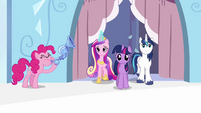 Pinkie Pie playing flugelhorn near Twilight, Shining and Cadance S3E1