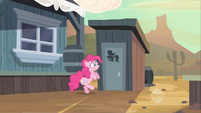 Pinkie Pie waiting at the outhouse S2E14