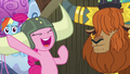 Pinkie Pie wearing honorary yak horns S7E11.png