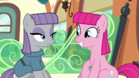 Pinkie smiling with Maud hairstyle S7E4