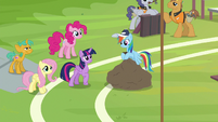Rainbow Dash arrives with a large sack S9E15