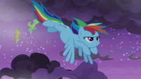 Rainbow Dash flying through dark clouds S9E17