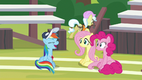 Rainbow laughs at Fluttershy and Pinkie S9E15