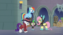 Rarity, RD, Spike, and Fluttershy in the catacombs S9E4