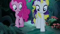 Rarity steps in a water puddle S7E19