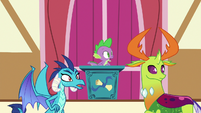 Spike, Ember, and Thorax shocked by the melting sculpture S7E15