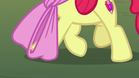 Apple Bloom's hoof gets caught in her oversized bow S7E9