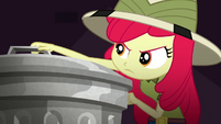 Apple Bloom grabbing a trash can lid SS11
