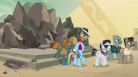 Dr. Caballeron and henchponies drag Rainbow away S7E18