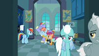 Fleetfoot and Silver Zoom smugly leave the locker room S7E7