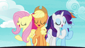 Fluttershy, AJ, and Rarity on a swivel platform S7E14.png