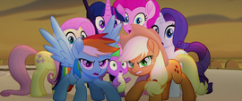 Mane Six and Spike fearfully gathered together MLPTM