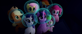 Mane Six and Spike in awe of Princess Skystar MLPTM