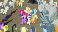Mane Six surrounded by Sombrafied ponies S9E2