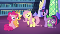 Pinkie and AJ still smiling; Fluttershy still a little uncomfortable S5E21