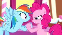 Pinkie staring seriously at Rainbow S4E12