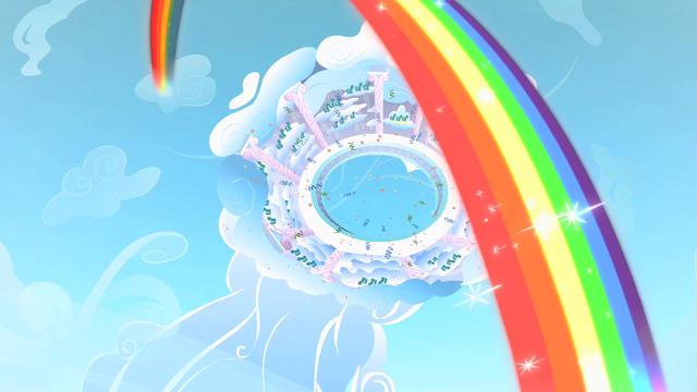 File:Rainbow Dash Cloudsdale rainbow S1E16.png
