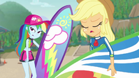 Rainbow and Applejack groaning at Zephyr EGDS19