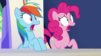 Rainbow and Pinkie Pie shocked --what-!-- S6E15