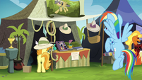 Rainbow near the Daring Do collector's stall S4E22
