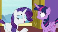 "Rarity ""tired from Power Ponypalooza"" S9E19"